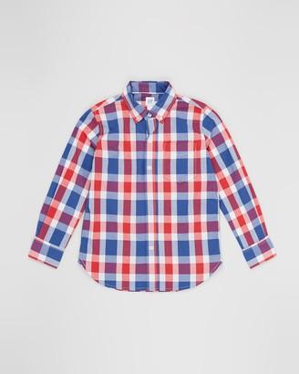 Gapkids Long Sleeve Poplin Plaid Shirt - Teens