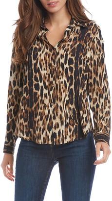 Fifteen-Twenty Leopard Print Button Front Shirt