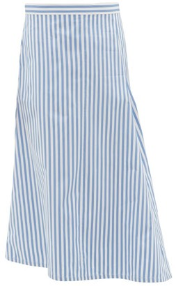 Jil Sander Asymmetric Striped Cotton-poplin Midi Skirt - Womens - Blue White
