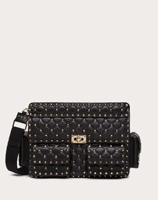 Valentino Rockstud Spike Nappa Bag With Pockets Women Black Lambskin 100% OneSize