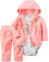 Carter's 3-Pc. Bow Hoodie, Butterfly-Print Bodysuit & Pants Set, Baby Girls (0-24 months)