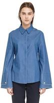 Roomy Sleeve Tencel Denim Shirts_dark Blue