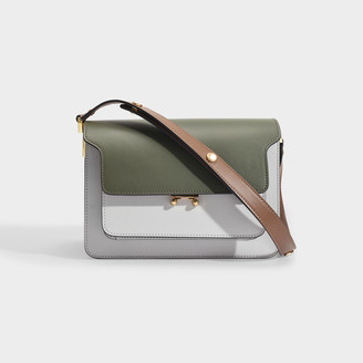 Marni Trunk Bag In Green, Grey And Brown Leather