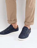 Jack & Jones Rayne Faux Leather Trainers In Navy