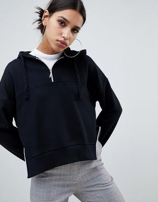 NA-KD zip detail hoodie in black