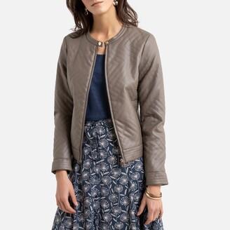 Anne Weyburn Faux Leather Zip-Up Jacket