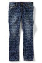 Lands' End Girls 5-pocket Pencil Leg Pattern Denim Jeans-Aged Wine