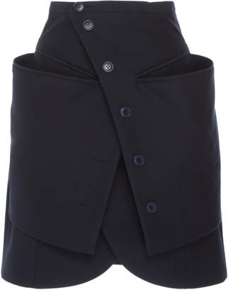 Jacquemus Wrap-Effect Button-Accented Tulip-Hem Mini Skirt