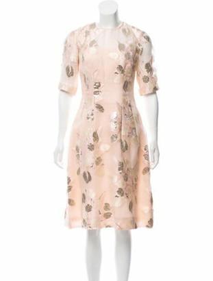 Lela Rose Brocade Midi Dress gold