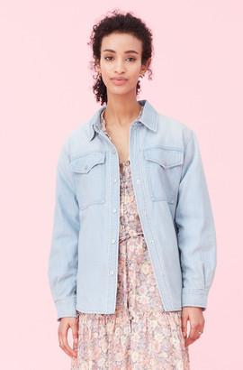 Rebecca Taylor La Vie Drapey Denim Jacket
