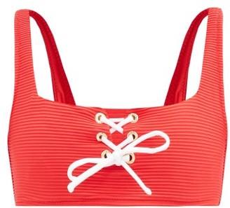 Heidi Klein Sardinia Lace-up Square-neck Ribbed Bikini Top - Red