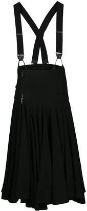 Y's suspender-strap gathered midi skirt