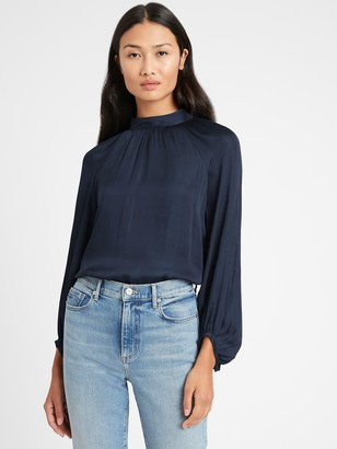 Banana Republic Satin Billow-Sleeve Top