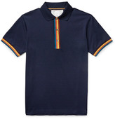 Paul Smith Slim-fit Contrast-tipped Cotton-piqué Polo Shirt - Midnight blue