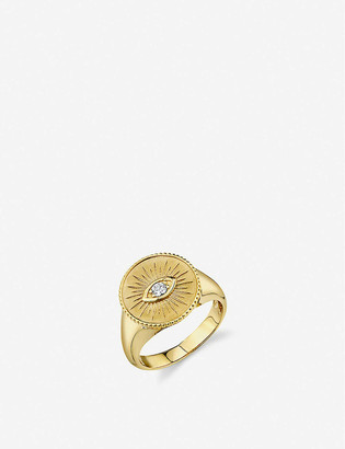 THE ALKEMISTRY Sydney Evan Evil Eye 14ct yellow-gold and diamond coin ring