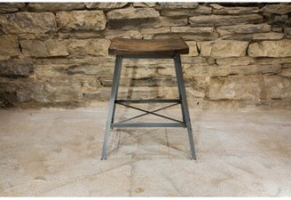 """Industrial Chic Reclaimed Wood Saddle Bar & Counter Stool (Set of 4) The Strong Oaks Woodshop Seat Height: Bar Stool (30"""" Seat Height)"""