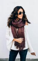 Ily Couture Wide Tassel Berry Scarf