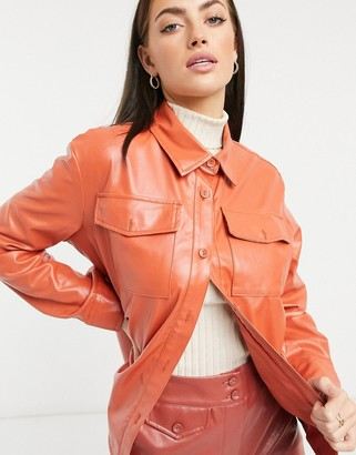 Heartbreak PU shirt co-ord in burnt orange