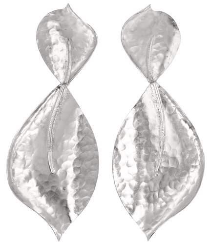 Josie Natori Hammered Metal Two Leaf Earrings