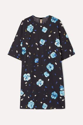 Marni Floral-print Cotton Mini Dress - Blue
