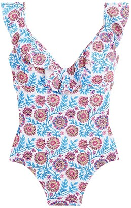 J.Crew Eco Castillo Floral Ruffle Tank (White/Blue Multi) Women's Swimsuits One Piece