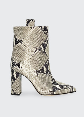 Paris Texas Snake-Embossed Block-Heel Booties