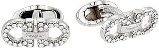 Salvatore Ferragamo Crystal Double Gancini Cuff Links (Silver) Cuff Links