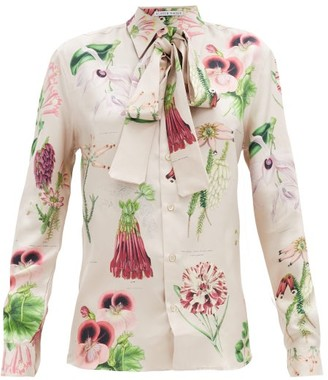 Alister Mackie - Annotated Floral-print Silk-twill Shirt - Pink Multi