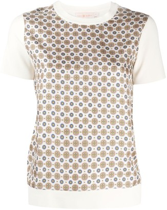 Tory Burch Silk Geometric Short-Sleeve Top