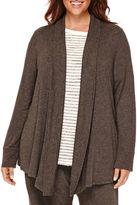 Liz Claiborne Long-Sleeve Rib-Trim Open Cardigan - Plus