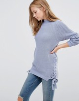 Vila Sweater with Lace Up Sides