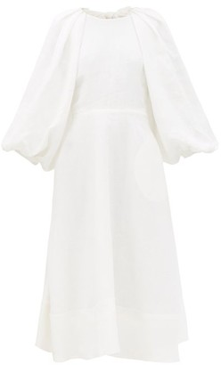 Ssōne Ssone - Cut-out Balloon-sleeve Hemp Midi Dress - Ivory