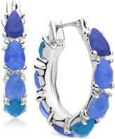 Nine West Silver-Tone Ombré Blue Stone Hoop Earrings
