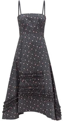 Molly Goddard Demi Frilled Floral-print Cotton Midi Dress - Black Print