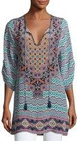 Tolani Elianna 3/4-Sleeve Printed Silk Tunic, Navy, Plus Size