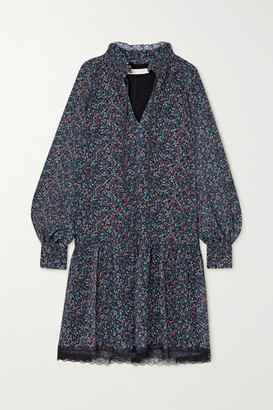 See by Chloe Tie-neck Lace-trimmed Floral-print Georgette Dress - Blue