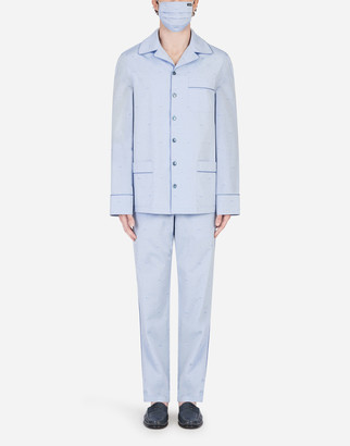 Dolce & Gabbana Polka-Dot Jacquard Pajama Set With Matching Face Mask