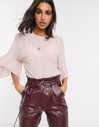 ASOS DESIGN top with fluted sleeve in blush