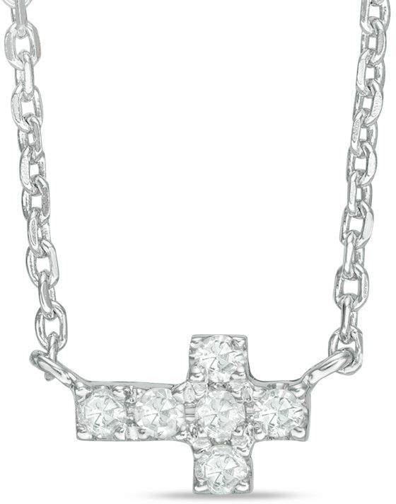 Zales Diamond Accent Sideways Cross Necklace in 14K White Gold