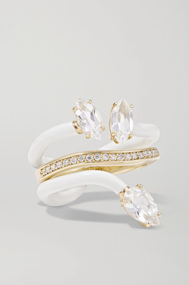 BEA BONGIASCA Vine 9-karat Gold, Enamel, Rock Crystal And Diamond Ring - White