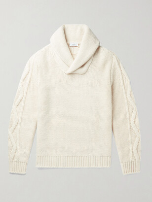 Brioni Slim-Fit Shawl-Collar Cable-Knit Wool And Cashmere-Blend Sweater