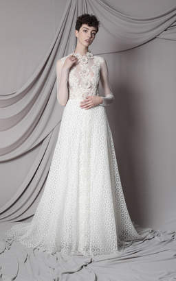 Marco & Maria Embroidered Transparent Tulle Long Sleeves Dress