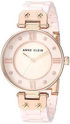 Anne Klein Women's Swarovski Crystal Accented Rose Gold-Tone and Light Pink Ceramic Bracelet Watch
