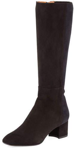 Aquatalia Jules Suede Block-Heel Tall Boot