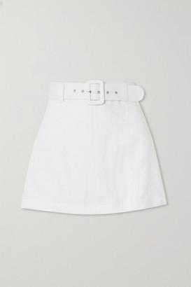 Faithfull The Brand Net Sustain Celia Belted Linen Shorts - White