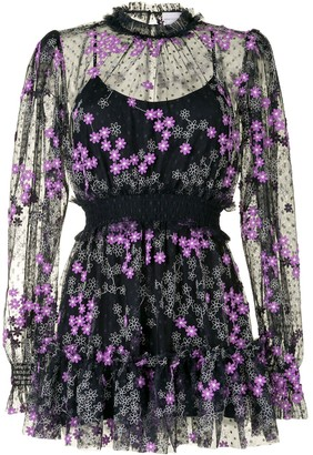 Alice McCall Transparent Floral-Embroidered Playsuit