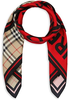 Burberry Archival Vintage Check & Horseferry Print Silk Scarf