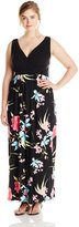 Yours Clothing YoursClothing Women's Plus-Size Floral Print Maxi Dress with V-Neckline, Black/Multi
