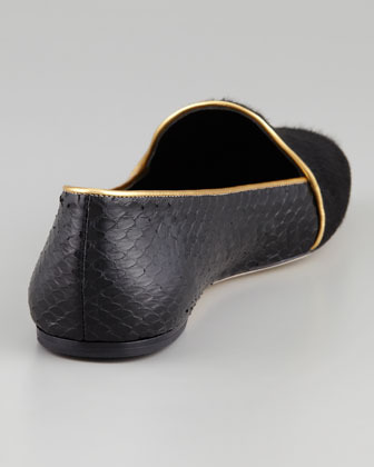 Brian Atwood Claudelle Calf Hair & Snakeskin Smoking Slipper, Black/Gold