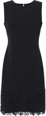 DKNY Guipure Lace-trimmed Stretch-crepe Dress